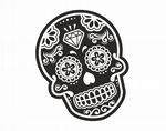 Mexican Day Of The Dead SUGAR SKULL Black & White With Diamond Motif External Vinyl Car Sticker 120x90mm
